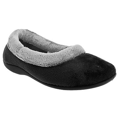 Sleepers WomensLadies Julia Memory Foam Collar Slippers 3 UK Black