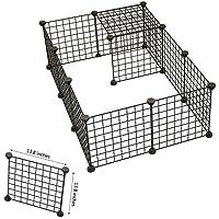 Parque de juegos portátil grande con cierre de alambres de metal, incluye 12paneles, ideal como jaula para conejos o cualquier otra mascota pequeña, color negro
