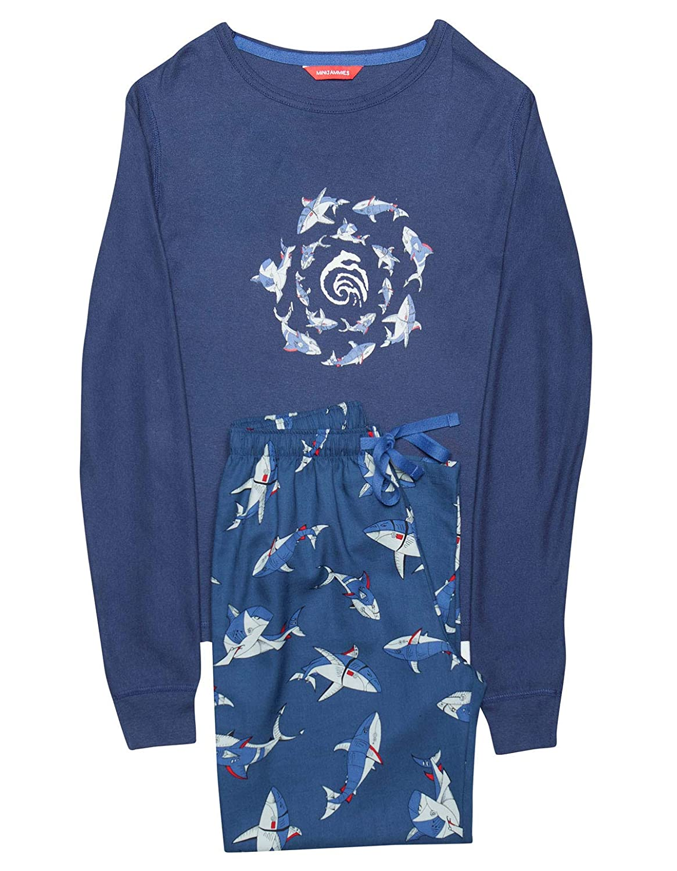 Minijammies 6315 Boys Finn Blue Shark Print Cotton Pajama Pyjama Set