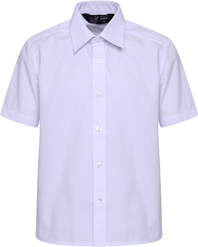 clicktostyles Boys Children Kids School Uniform Shirt Short Sleeve White Colour