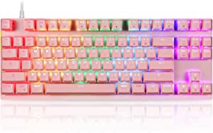 MOTOSPEED Professional Gaming Mechanical Keyboard RGB Rainbow Backlit 87 Keys Illuminated Computer USB Gaming Keyboard with Red Switches for Mac & PC Pink