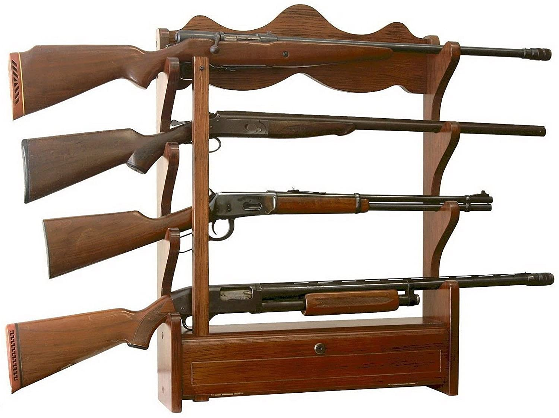 wooden wall hanging gun rack
