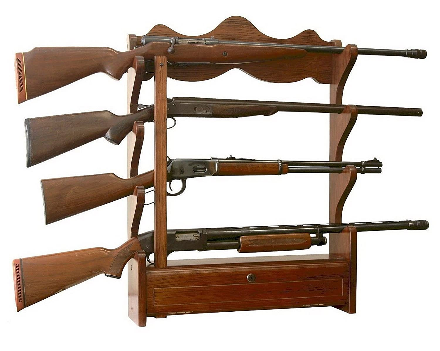 Amazon.com: NEW Wooden Wall Mount/Hung Gun Storage U0026 Display Rack Holds 4  Rifles/Shotgun: Sports U0026 Outdoors