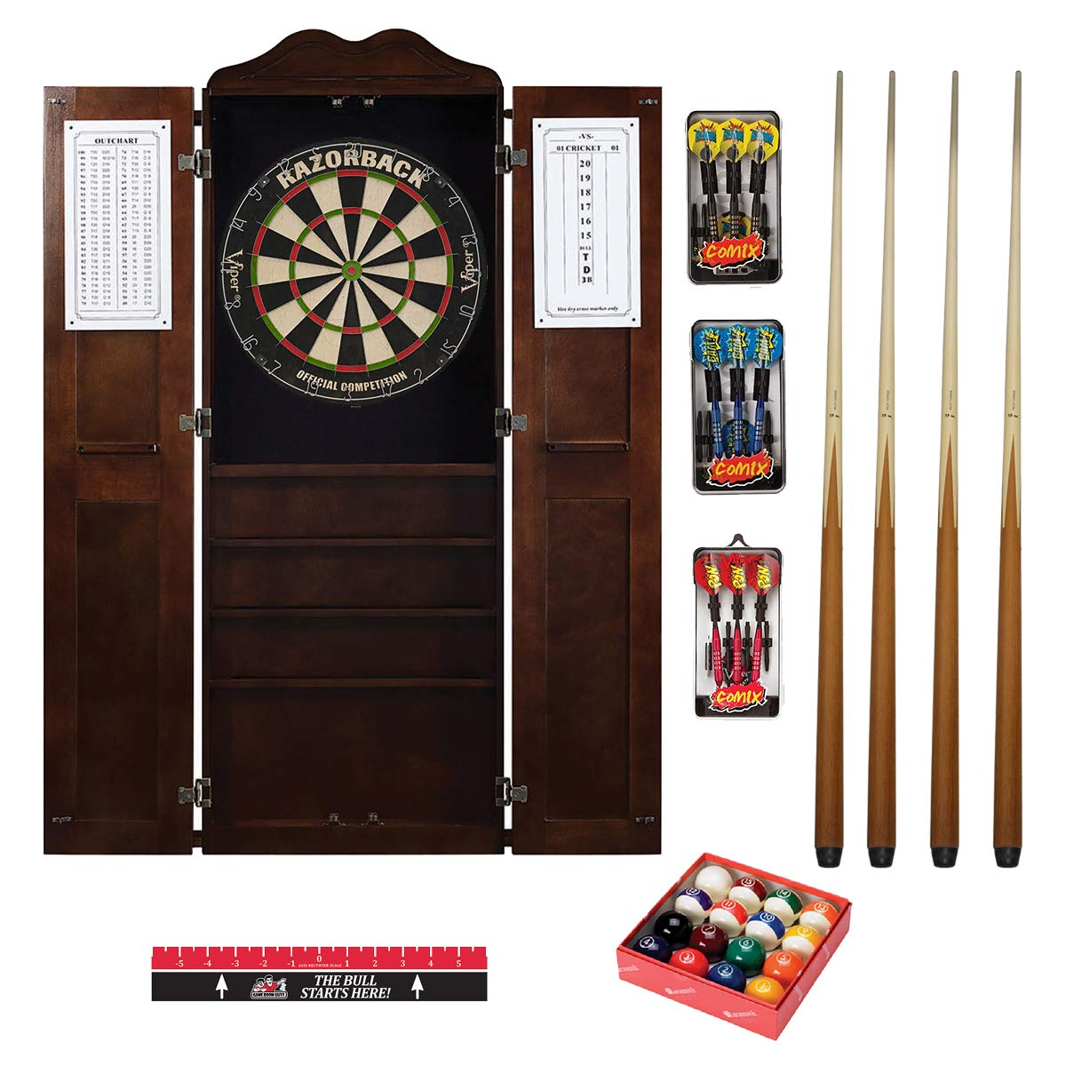 Game Room Guys Steel Tip Dart Board and Billiard Cue Cabinet Pkg-Cappuccino