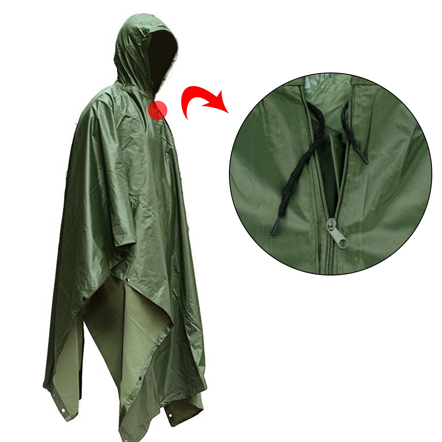 Waterproof Raincoat,Tent Ground Sheet Mat,Sunshade Tarp,Perfect for Outdoor Activities ElifeAcc Multifunctional Rain Cape Hooded Poncho