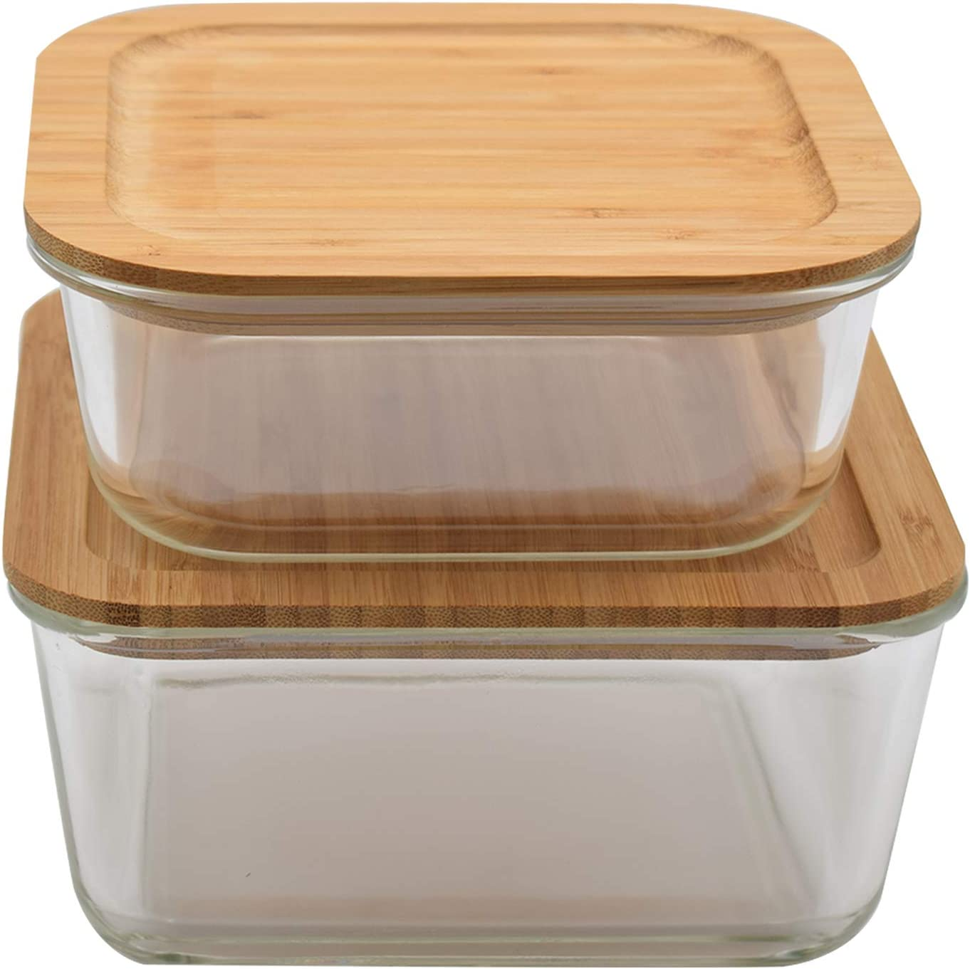 Large & XXL Glass Food Storage Containers with Bamboo Lids   Multi Use Kitchen Organization: Mixing Bowls, Meal Prep Containers, Baking, Lunch Box, Bento Box   BPA-Free Eco-Friendly Container Set of 2