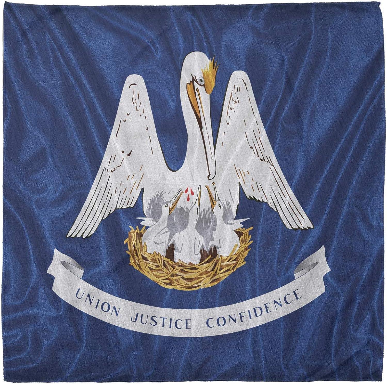 Lunarable Unisex Bandana, American Pelicans Flag Louisiana, Blue Mustard White