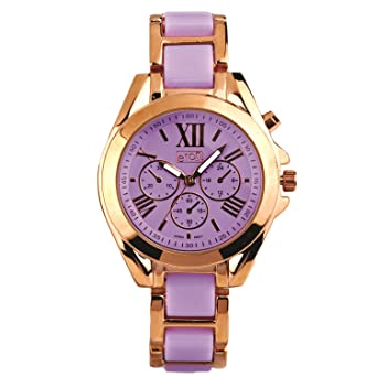Eton Damen Fashion Uhr, Lila Rose Gold Ton Link Armband, Low Nickel ... 18da1ec554