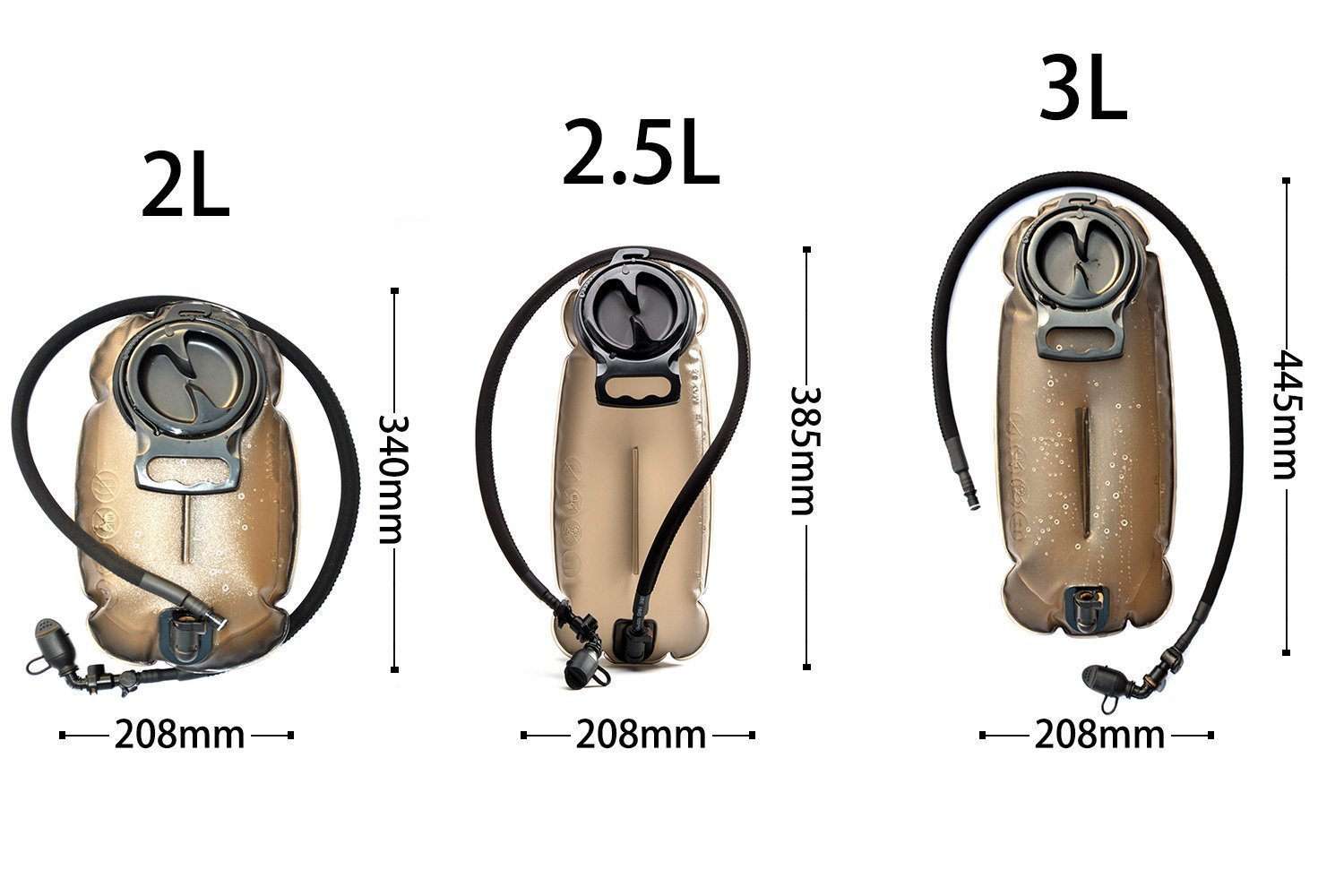 Unigear Hydration Water Bladder Reservoir BPA Free FDA Approved and Taste Free for Backpacking, Biking, Hiking and Camping (Brown, 2L)