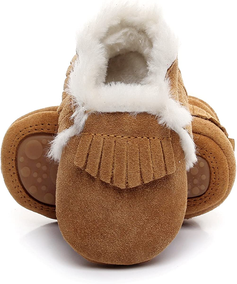 HONGTEYA Baby Moccasins with Fur Fleece Rubber Soles Warm Snow Boots Leather Baby Shoes for Boys Girls