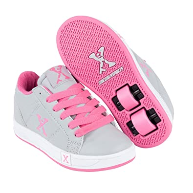 Sidewalk Sport Kids Lane Girls Wheeled Skate Lace Up Padded Collar Shoes Grey/Pink UK