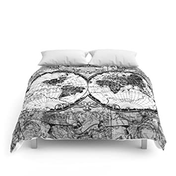 Amazon society6 world map black and white comforters queen 88 society6 world map black and white comforters queen 88quot gumiabroncs Images