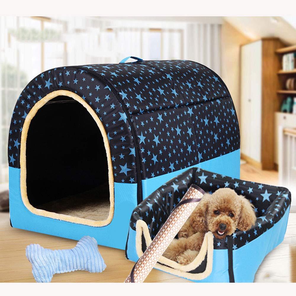 bluee Star Threepiece MediumCHONGWU golden Retriever Medium Dog Four Seasons Dog Kennel Indoor Dog House Large Dog Kennel Winter Warm Detachable Pet Worm