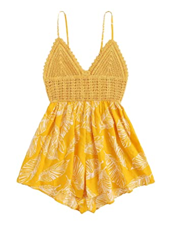 745101b357 SheIn Women's Boho Crochet V Neck Halter Backless Floral Lace Romper  Jumpsuit Small Floral Yellow#