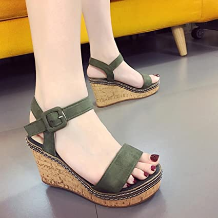 097f0ba045e Image Unavailable. Image not available for. Color  Hemlock Women Lady High  Heel Sandals Wedge Sandals Peep Toe Sandals (US 7