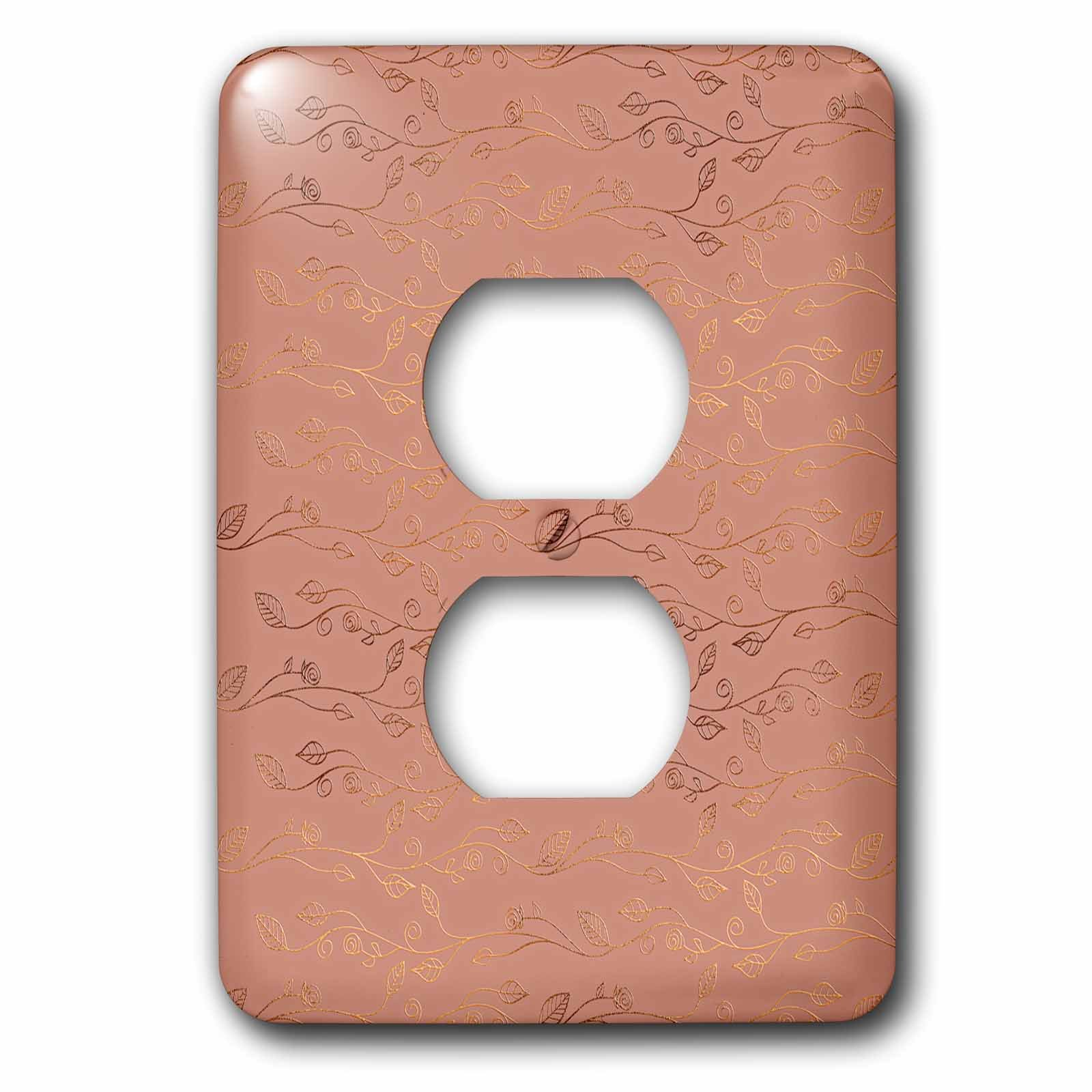 3dRose Uta Naumann Faux Glitter Pattern - Luxury Shiny Elegant Rose Gold Floral Flower Copper Damask Pattern - Light Switch Covers - 2 plug outlet cover (lsp_272880_6)