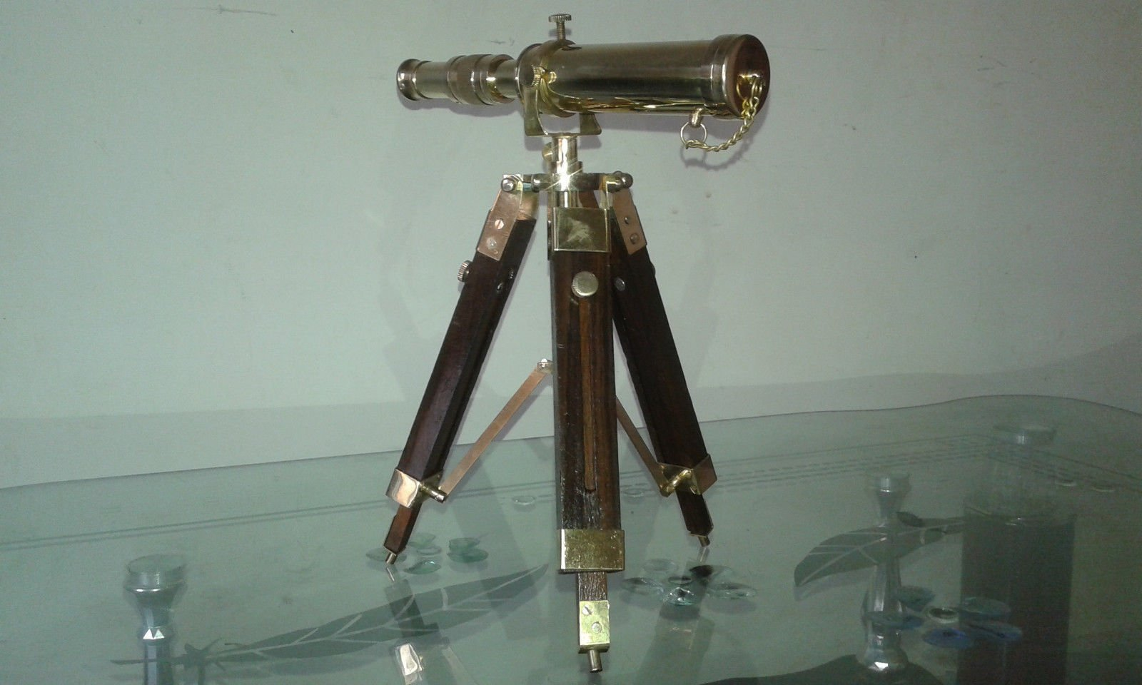 Vintage Collectable Decor Brass polish Telescope with Wooden Tripod Stand