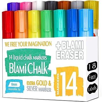 Blami Arts Marcadores De Tiza Con Oro y Plato Extra Colores  58ee8c4d75e
