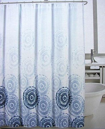 Curtains Ideas blue ombre shower curtain : Amazon.com: Max Studio Fabric Shower Curtain Blue Medallions ...