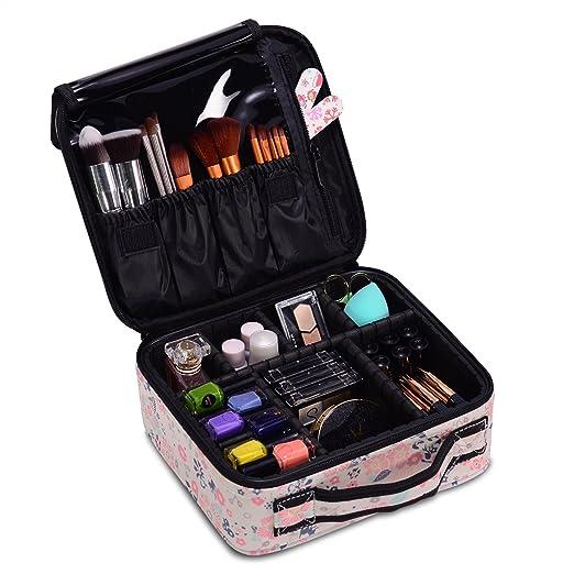 Maletín para Maquillaje, Estuche Organizador de Cosméticos Brochas, Ligero y Pequeño conveniente de llevar (Talla pequeña, Beige)
