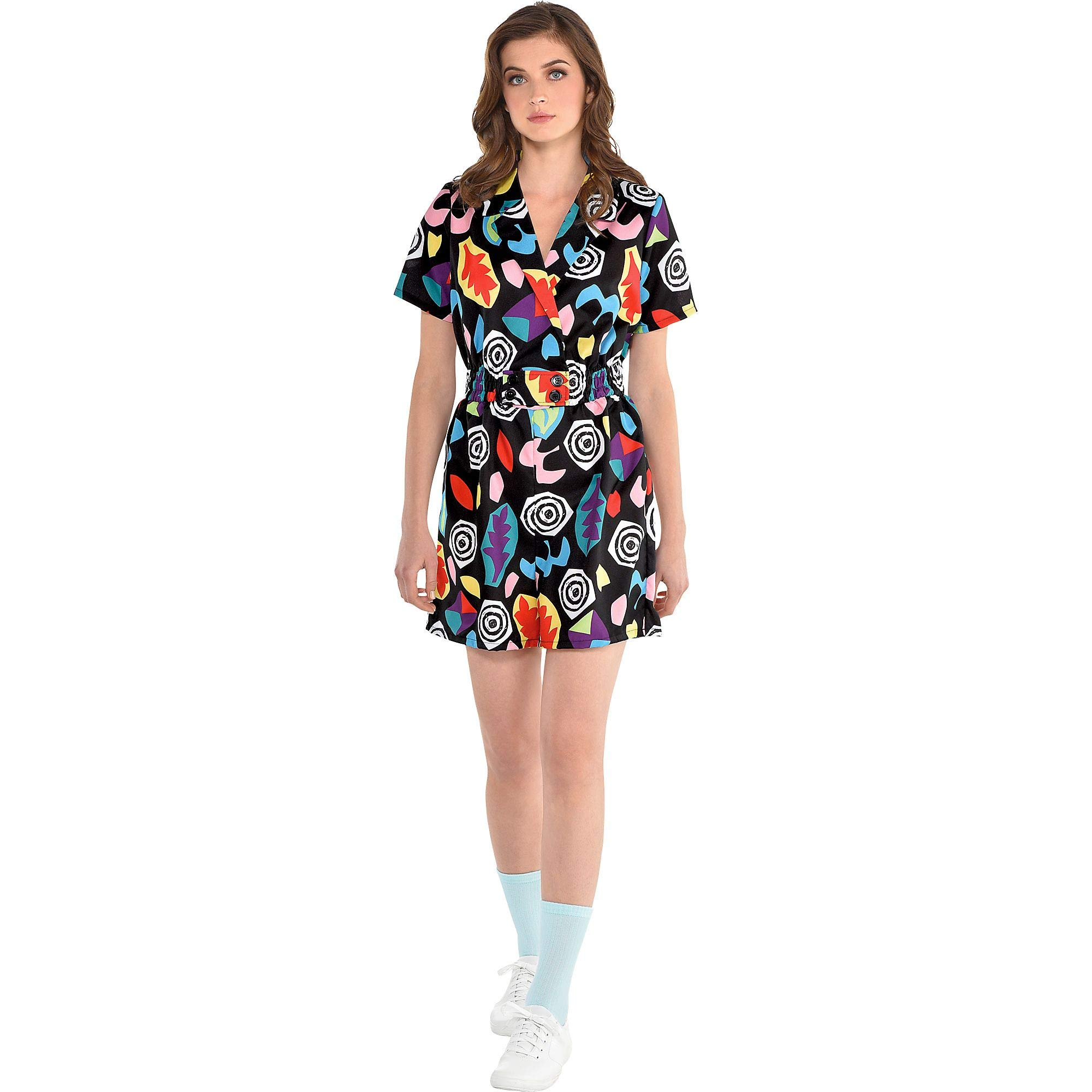Party City Stranger Things Mall Eleven Costume for Adults, Size Small/Medium, Features a Colorful Short-Sleeve Romper