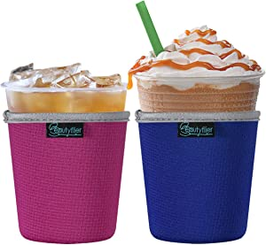 Beautyflier Pack of 2 Insulated Neoprene Ice Coffee Sleeve Anti-Slip Cup Holder for Cold Beverages Starbucks Coffee, McDonalds, Dunkin Donuts (Blue & Hotpink, Small (16-18oz))