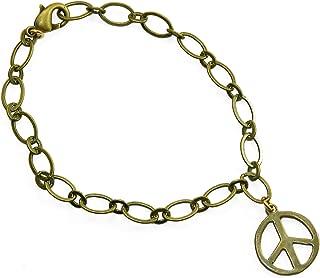 product image for Delicate Peace Symbol Peace Bronze Link Bracelet