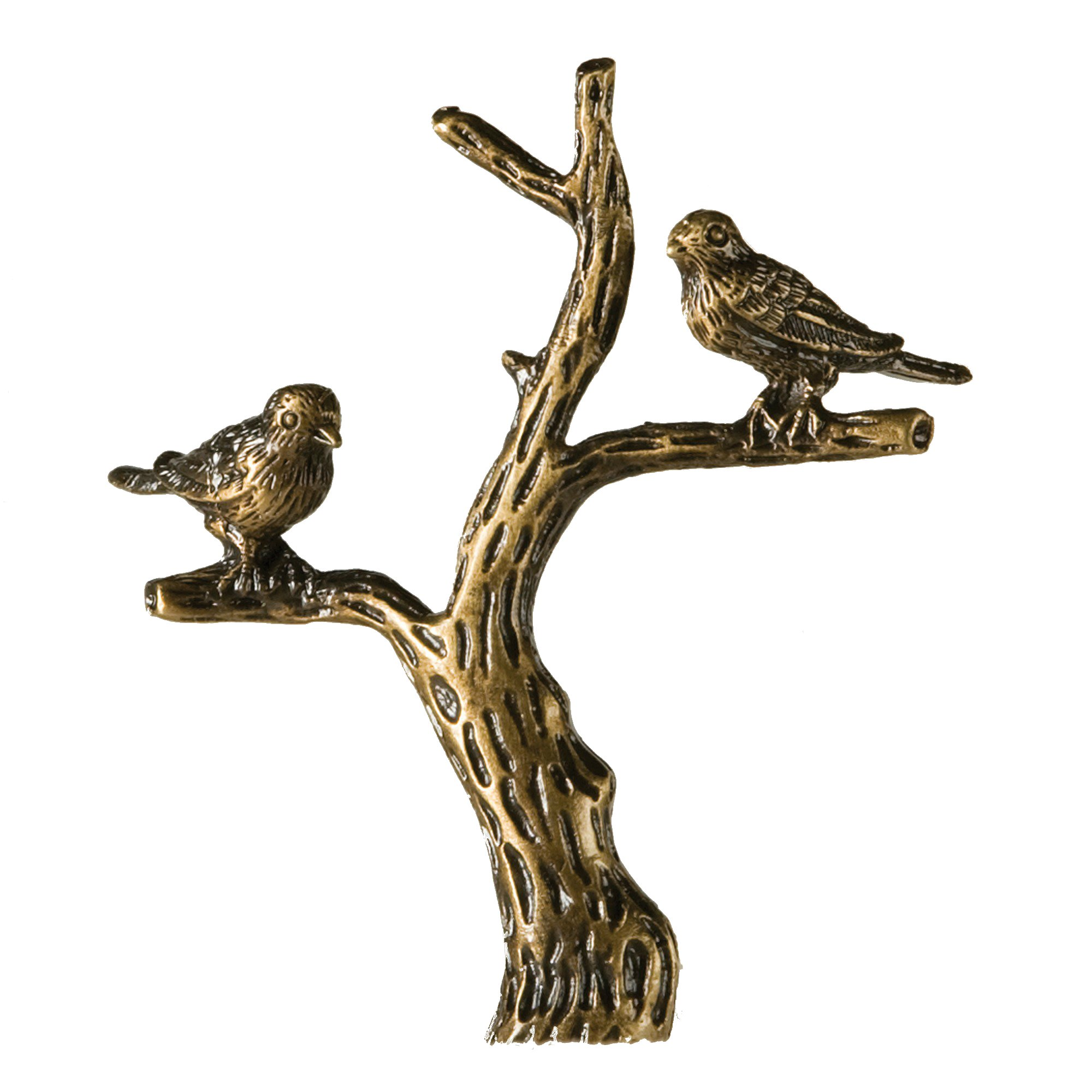 Antique Brass Bird in Tree Finial Bronze 3'' Tall Vintage Gold Look Lamp Shade Topper Finch Birds in Tree