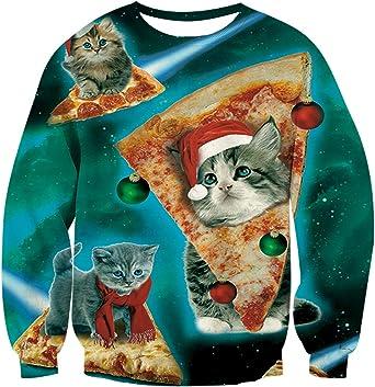 Funnycokid Ugly Christmas Sweatshirt Kids Teens Fleece Sweatshirt Boys Girls 3D Print Xmas Pullover Jumper 4-16Y