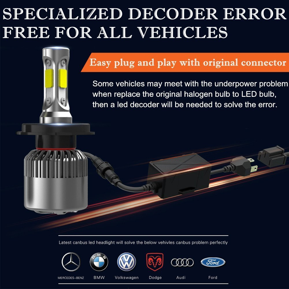 2PCS 9004 LED Headlight Bulbs For 1990 1991 1992 1993