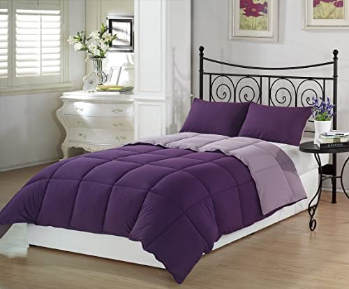Chezmoi Collection 3-Piece Purple Lilac Super Soft Goose Down Alternative Reversible Comforter Set, King Size