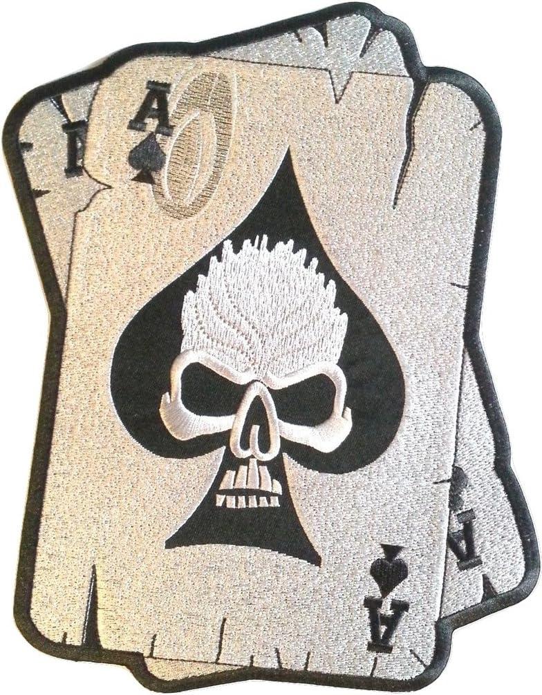 écusson ECUSSON PATCH THERMOCOLLANT CARTE AS DE PIC SKULL TETE DE MORT 8 X 6 CM