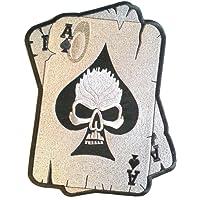 """Écusson Patch Badge Brodé biker crane tete de mort ecusson thermocollant """" Skull Carte Ass 10 cm """""""