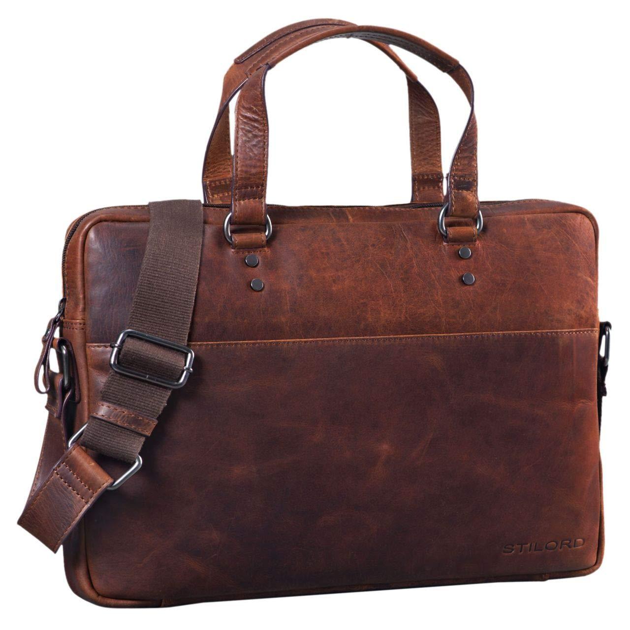 STILORD 'Cornelius' Leder Aktentasche 15.6 Zoll Laptop-Fach Vintage Umhängetasche für Büro Business Arbeit große Herren Ledertasche Echtleder, Farbe:Messina - braun