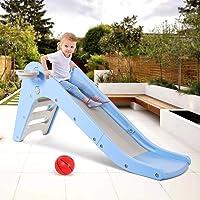 WELSPO Freestanding Slides for Kids, Indoor / Outdoor Toddler Toy Folding Slide with Basketball Hoop