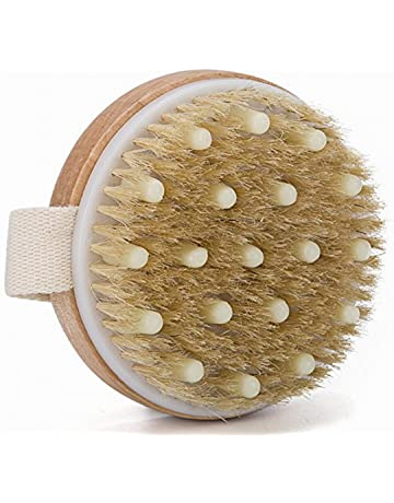 Mytlp Bath Body Brush Natural Bristles with Massage Nodules Reducing Cellulite Toxins