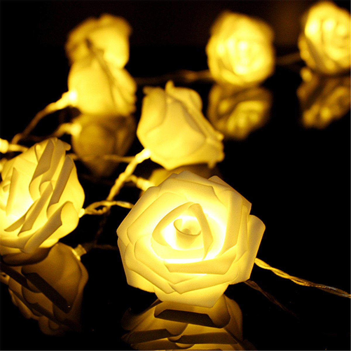 Amazon.com: KINGSO 20 LED Battery Operated Rose Flower String Lights ...