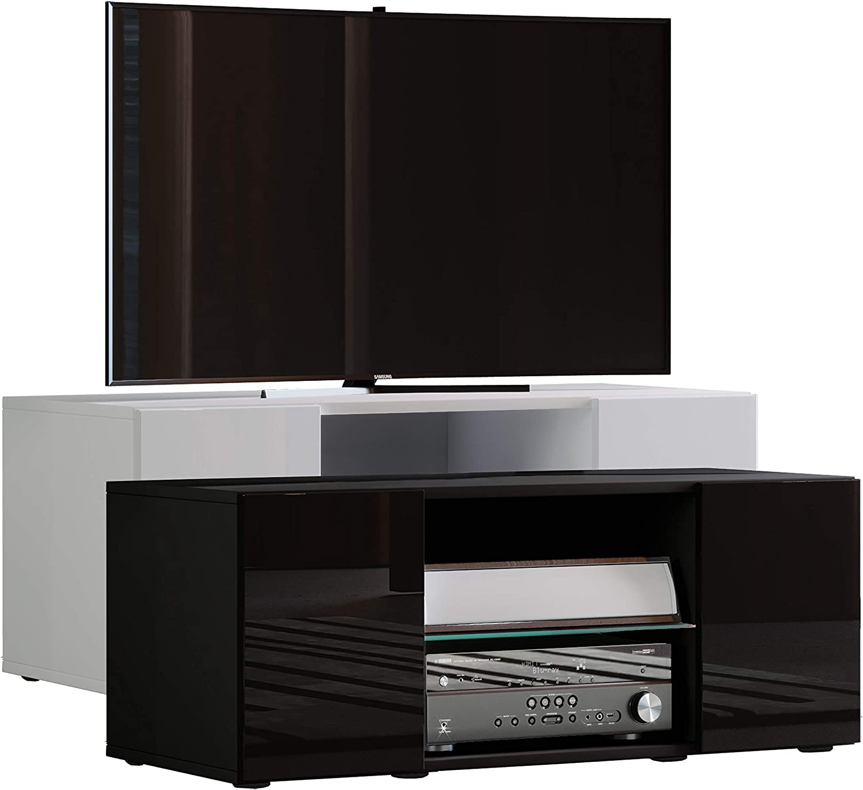 VCM lowina Poli Fin 95 – Mueble TV, Madera, Blanco/Negro, 40 x 95 ...