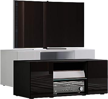 VCM lowina Poli Fin 95 – Mueble TV, Madera, Blanco/Negro, 40 x 95 x 36 cm: Amazon.es: Hogar