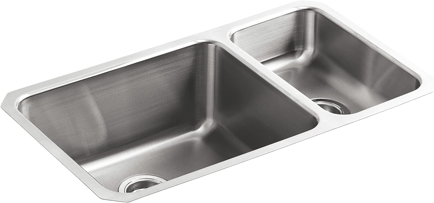 KOHLER K-3174-NA Undertone High Low Undercounter Kitchen Sink, Stainless Steel