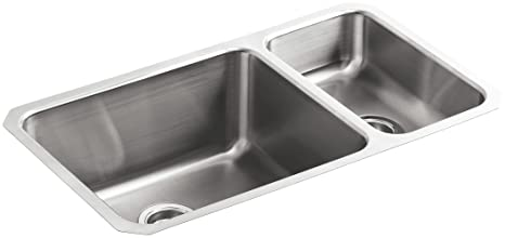 KOHLER K-3174-NA Undertone High/Low Undercounter Kitchen Sink, Stainless  Steel