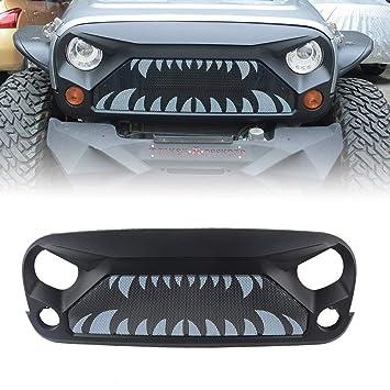 2007-2018 Rubicon Sahara Sport Front Matte Black Gladiator - Rejilla de ventilación con dientes de monstruo (malla de acero): Amazon.es: Coche y moto