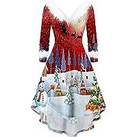 Las Mujeres de la Vendimia de Navidad Swing Fiesta de cóctel Vestido de Cuello drapeado Fishtail V Cuello Vestidos…