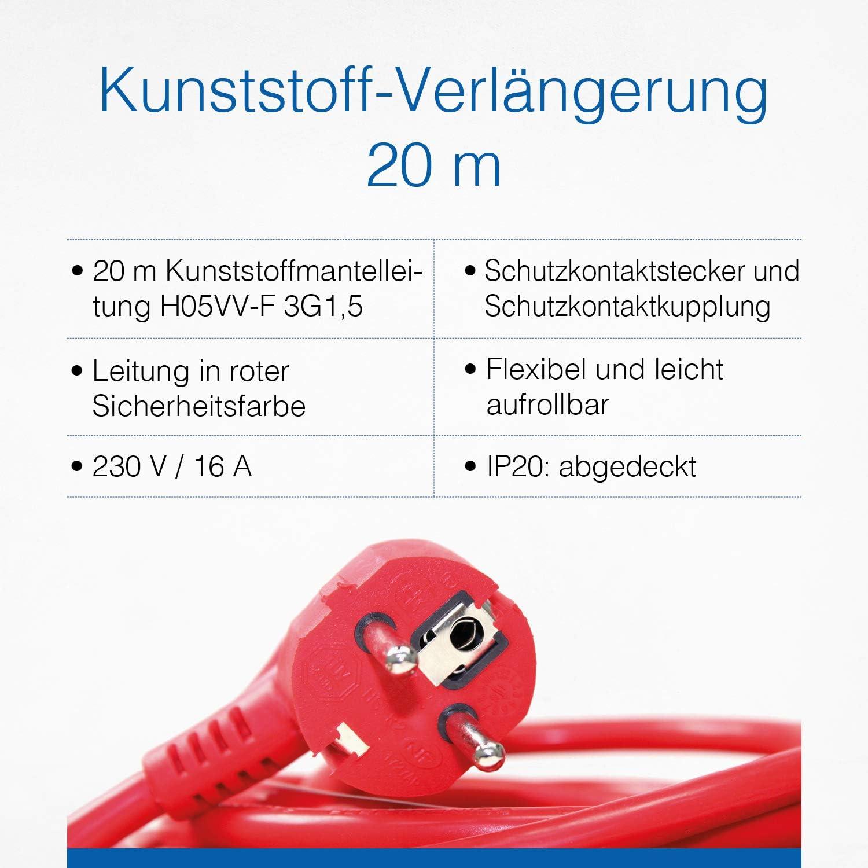 As Schwabe Kunststoff Verlängerung 20 M Verlängerungskabel 230 V 16 A Verlängerungsleitung Mit Schuko Euro Stecker Und Kupplung Stromverlängerungskabel Für Innenbereich Ip20 Rot I 51160 Baumarkt