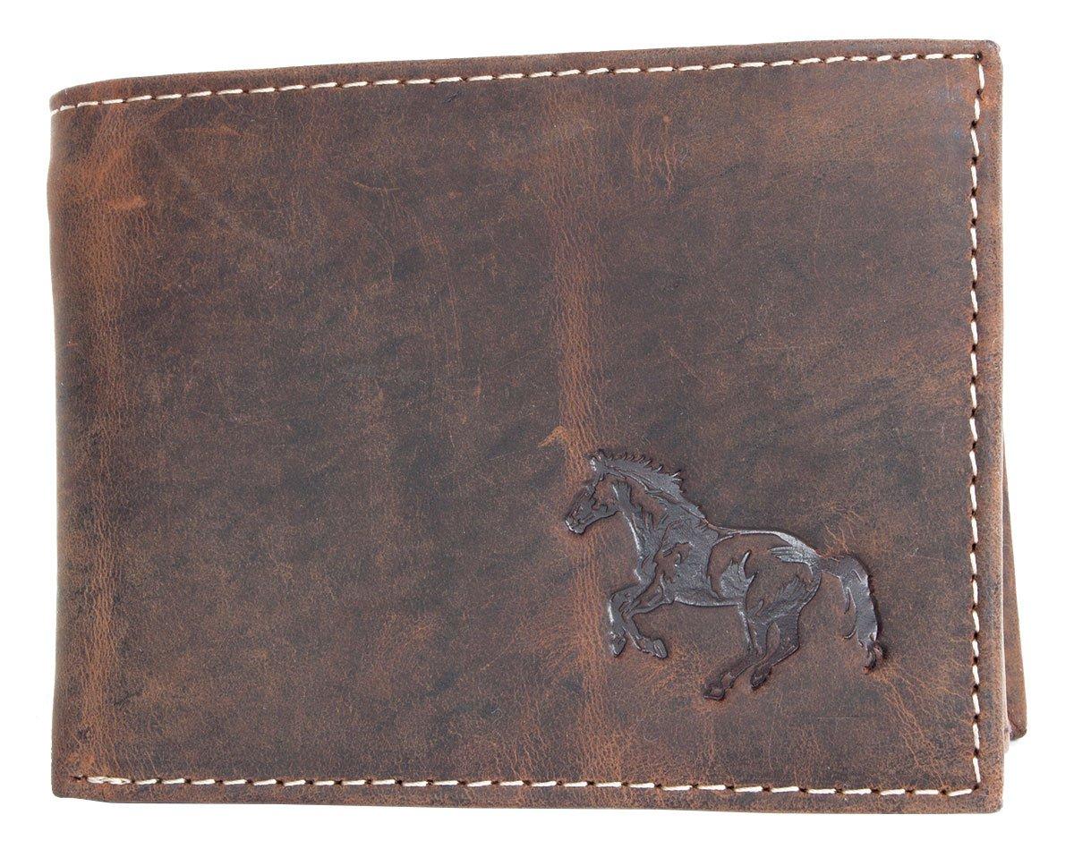 Natural fuerte cartera de cuero genuino con un caballo: Amazon.es: Equipaje