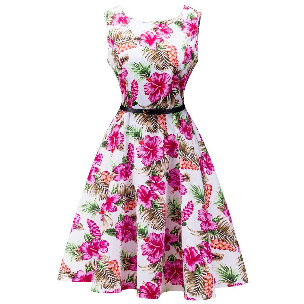 Myp LINKFLY 1950's Elegant Dress Vintage Party Tea Dress Belt Printed Dresses for Women