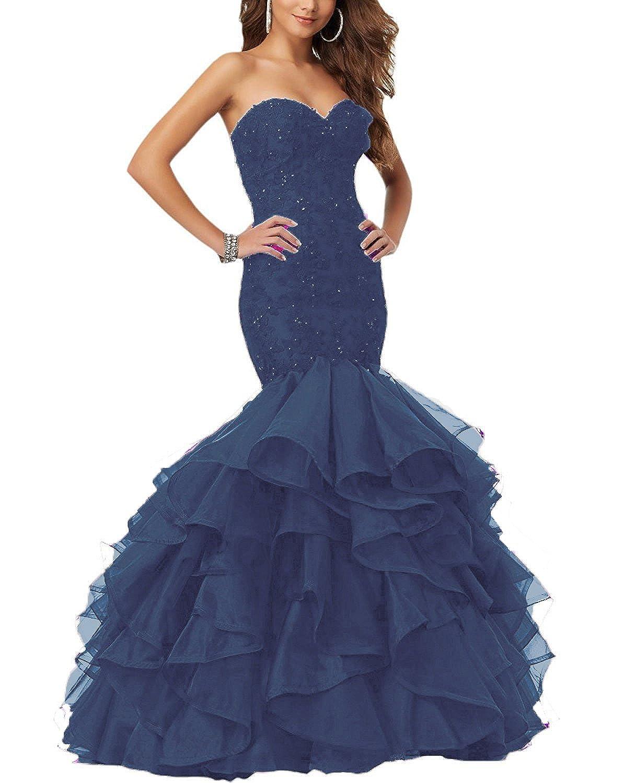 Navy bluee YMSHA Women's Long Lace Beads Prom Evening Dress Mermaid Ruffles Formal Wedding Gown PM08