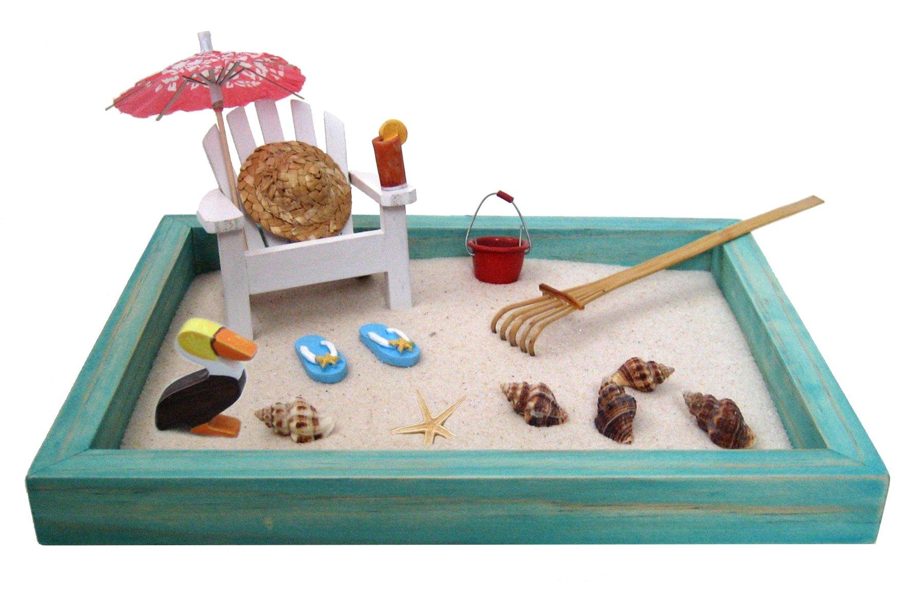 Beach Zen Garden, A Day at The Beach, Mini Desktop Sandbox for Meditation and Relaxation by Zen Life