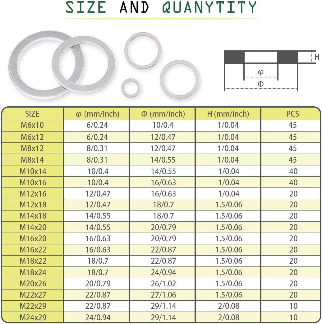 M6 M8 M10 M12 M14 M16 M18 M20 M22 M24 Keadic 470Pcs 18 Metric Sizes Automotive Washer Assortment Aluminum