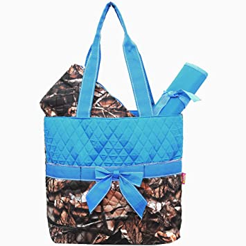 Amazon.com : Quilted Camo Print 3pc Diaper Bag (Turquoise) : Baby : quilted camo diaper bag - Adamdwight.com
